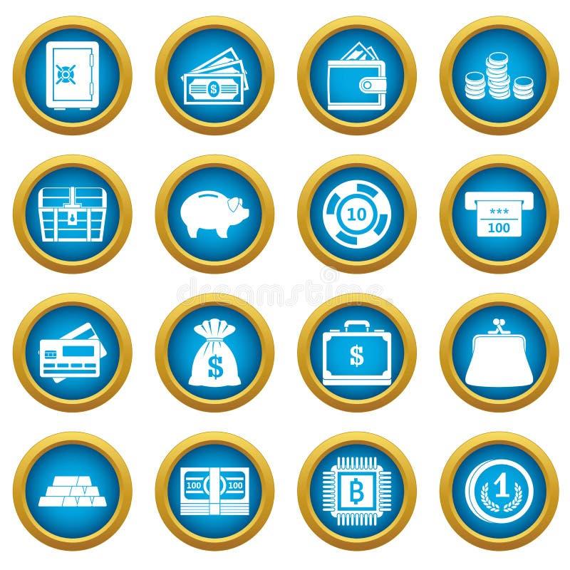 Różnych pieniądze ikon okręgu błękitny set ilustracja wektor