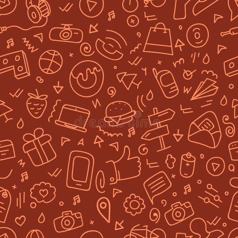 Różnych sieć interfejsu doodle sylwetek bezszwowy wzór royalty ilustracja