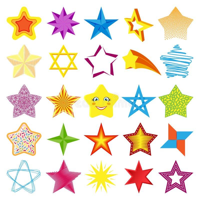 Różnych stylowych kształt sylwetki błyszczących gwiazdowych ikon inkasowa wektorowa ilustracja ilustracja wektor
