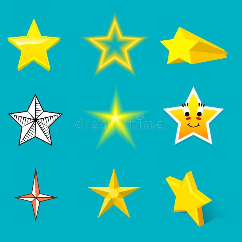 Różnych stylowych kształt sylwetki błyszczących gwiazdowych ikon inkasowa wektorowa ilustracja na błękitnym tle ilustracji