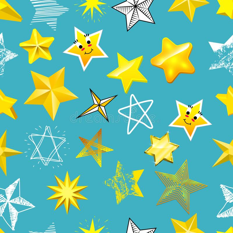 Różnych stylowych kształt sylwetki błyszczących gwiazdowych ikon inkasowy wektorowy ilustracyjny bezszwowy deseniowy tło royalty ilustracja