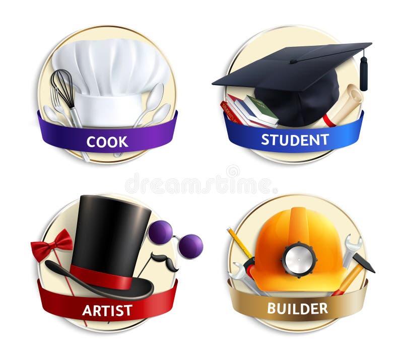 Różnych zawodów kapeluszy Realistyczni emblematy ilustracja wektor