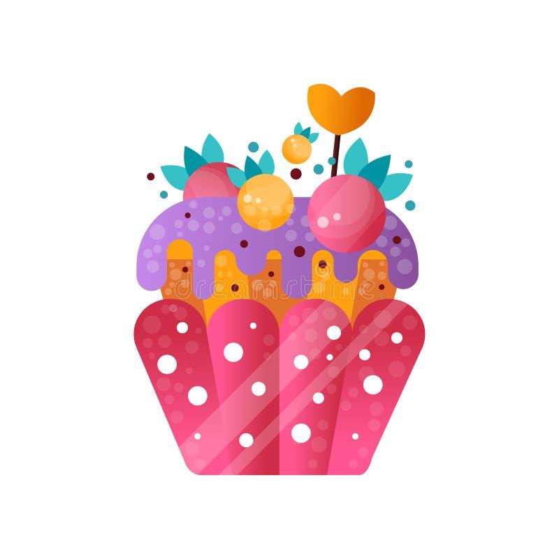 Różowa śmietankowa babeczka, słodki ciasto dekorował z jagodami, deser dla przyjęcie urodzinowe wektorowej ilustraci na bielu royalty ilustracja