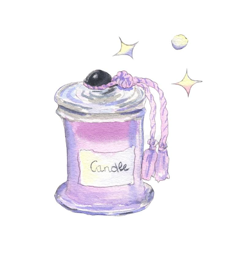 Różowa świeczka w słoju ilustracji