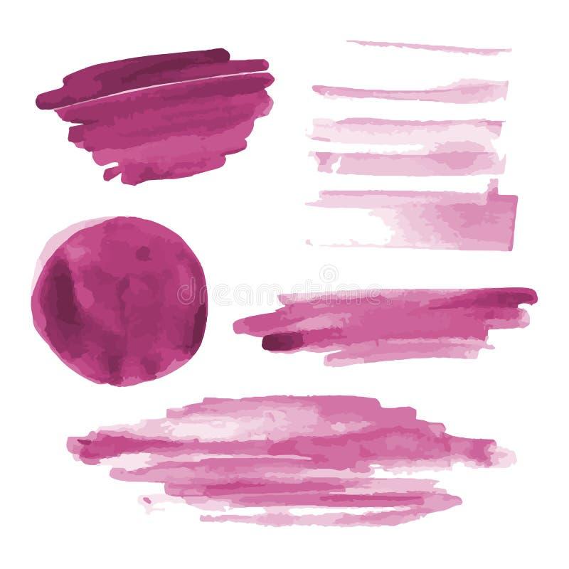 Różowa akwarela kształtuje, splotches, plamy, farby muśnięcia uderzenia Abstrakcjonistyczni akwareli tekstury tła ustawiający obraz stock