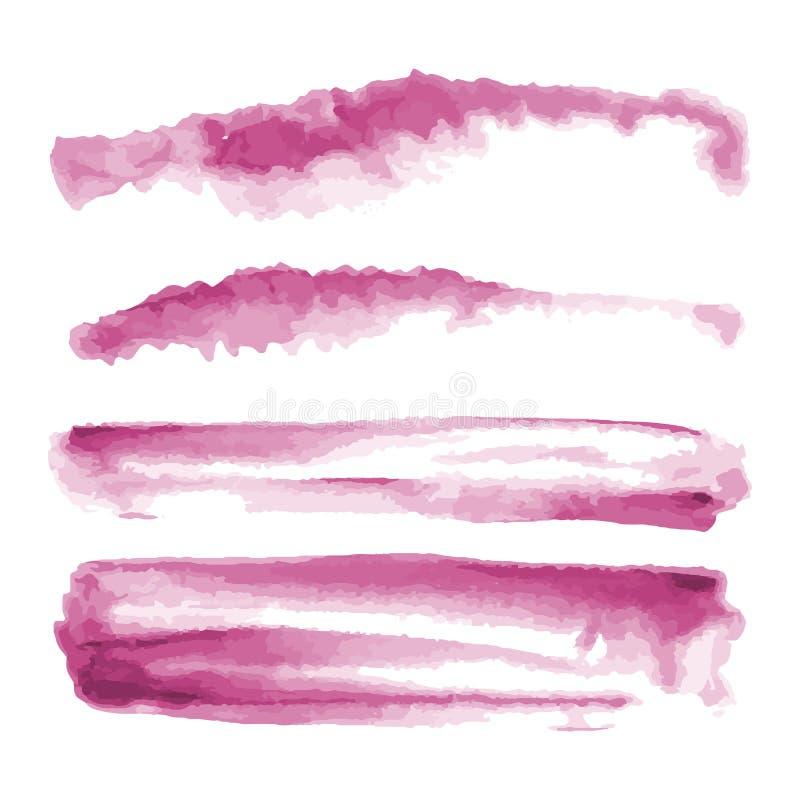 Różowa akwarela kształtuje, splotches, plamy, farby muśnięcia uderzenia Abstrakcjonistyczni akwareli tekstury tła ustawiający zdjęcia stock