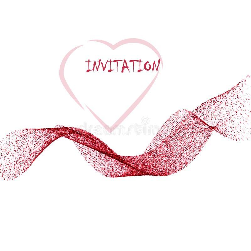 Różowa błyskotliwości tekstury fali granica nad białym tłem Abstrakcjonistyczny kolor błyska confetti royalty ilustracja
