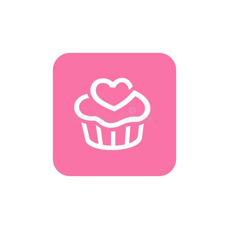 Różowa babeczki ikona, Kwadratowy kształt ikony projekt, Śliczny Wektorowy loga projekt royalty ilustracja
