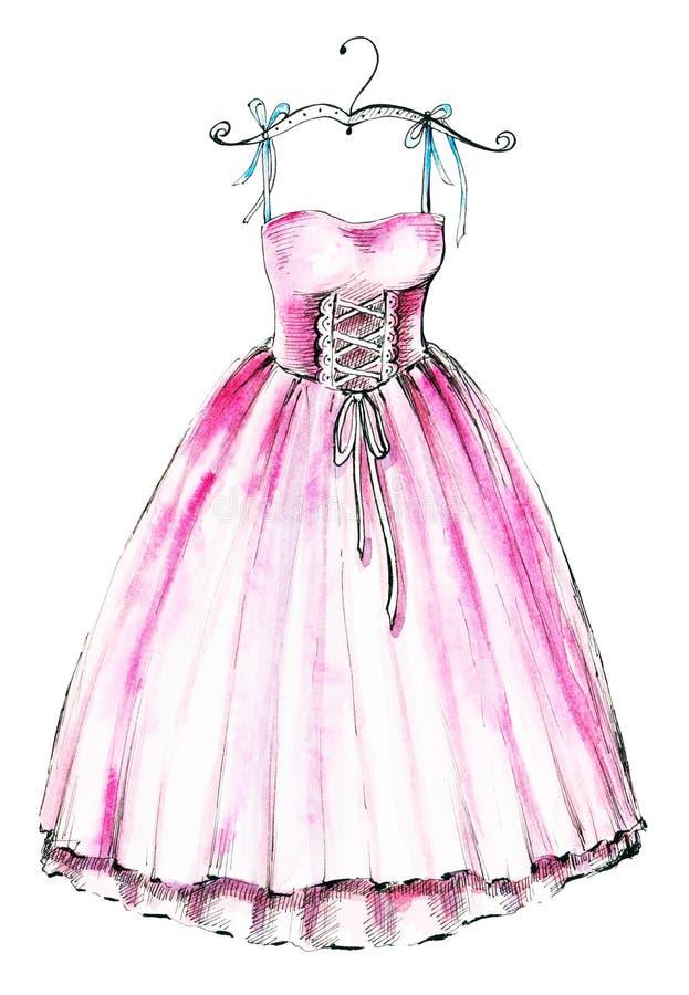 Różowa balet suknia royalty ilustracja