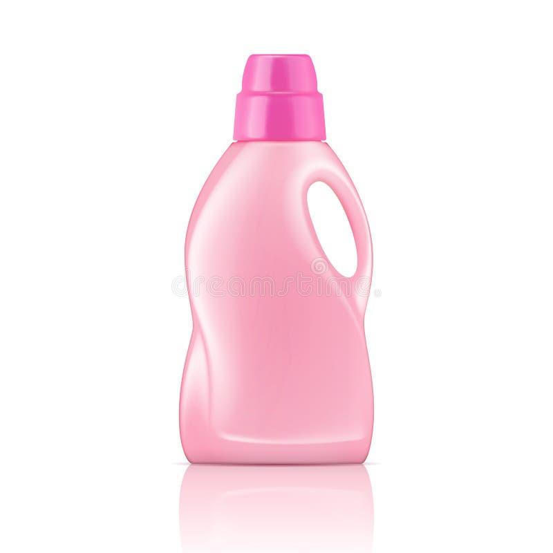 Różowa ciekła pralnianego detergentu butelka. royalty ilustracja