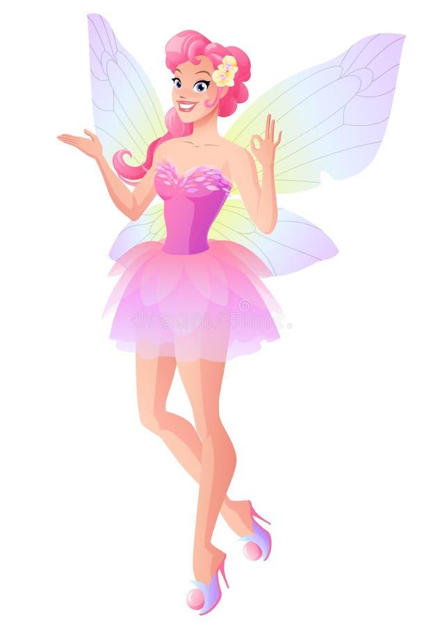 Różowa czarodziejka z motylem uskrzydla pokazywać ok znaka również zwrócić corel ilustracji wektora ilustracja wektor