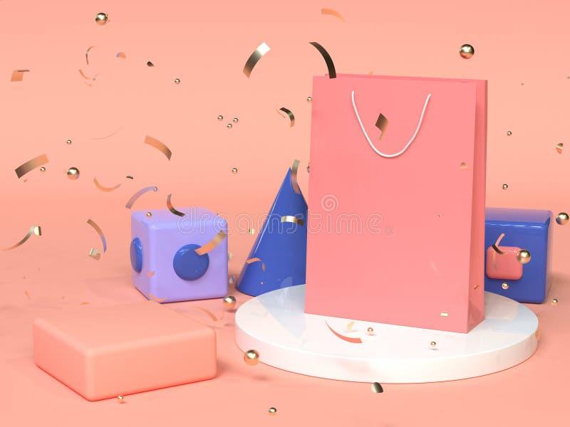 Różowa czerwona błękitna abstrakcjonistyczna geometryczna kształt sceny 3d renderingu menchii papierowej torby zakupy reklama royalty ilustracja