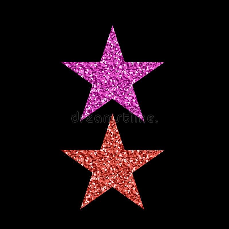 Różowa Czerwona błyskotliwości gwiazda royalty ilustracja