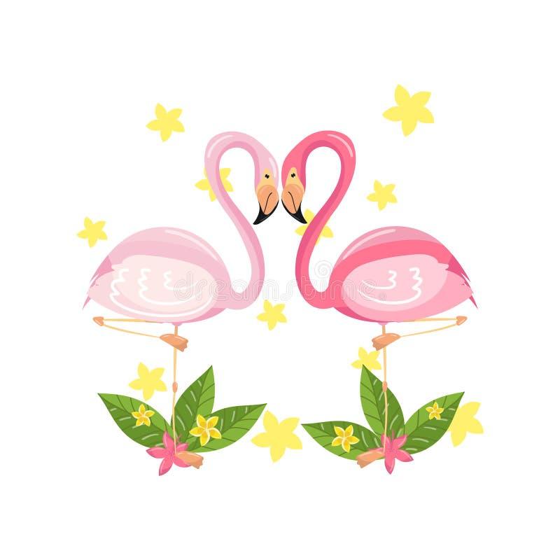 Różowa flaming para, miłość, rodzinny pojęcie, egzotyczna tropikalna ptaka wektoru ilustracja ilustracji