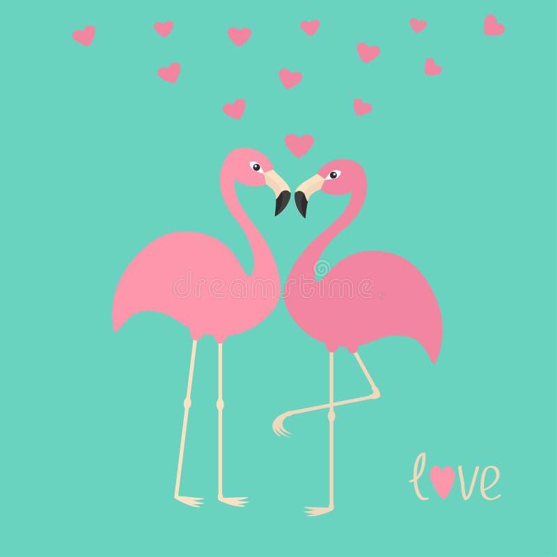 Różowa flaming para, serca i Egzotyczny tropikalny ptak Zoo zwierzęcia kolekcja Śliczny postać z kreskówki Kocha kartka z pozdrow ilustracja wektor