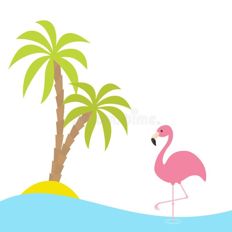 Różowa flaming pozycja Na Jeden nodze Dwa palm drzewo, wyspa, ocean, widzii wodę Egzotyczny tropikalny ptak Zoo zwierzęcia kolekc ilustracja wektor