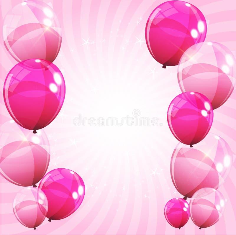 Różowa Glansowana balonu tła wektoru ilustracja ilustracji