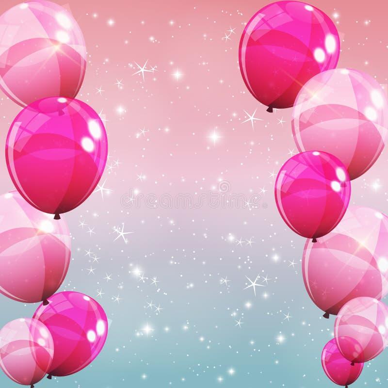 Różowa Glansowana balonu tła wektoru ilustracja royalty ilustracja