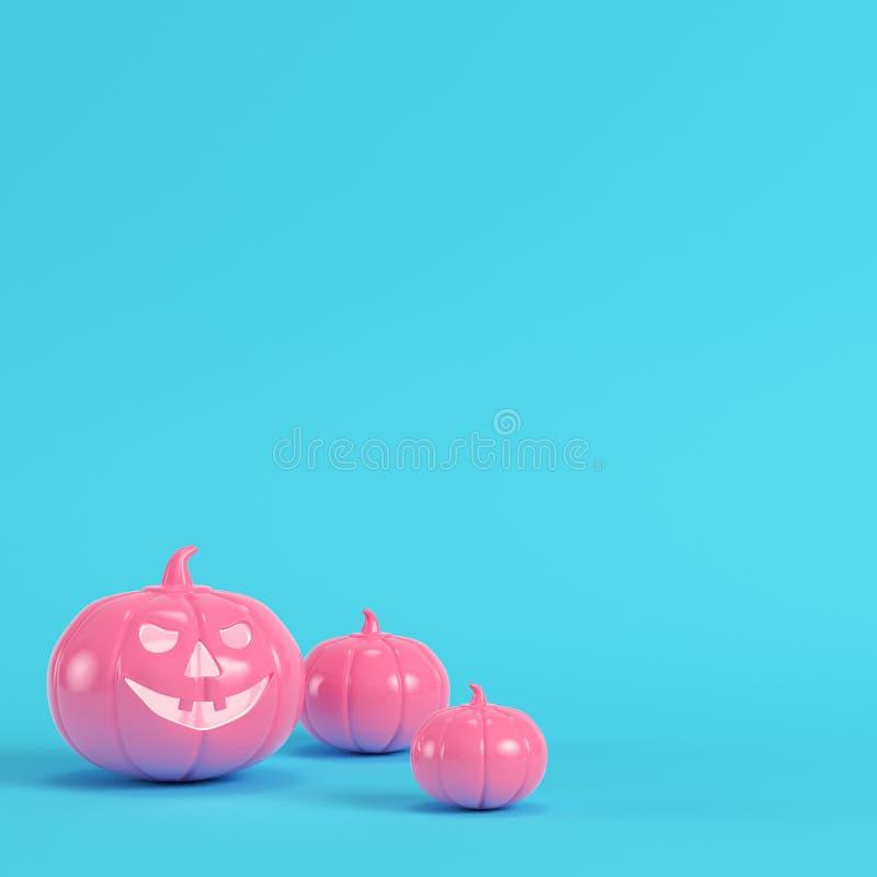 Różowa Halloween bania, dźwigarki o lampion na jaskrawym błękitnym tle royalty ilustracja