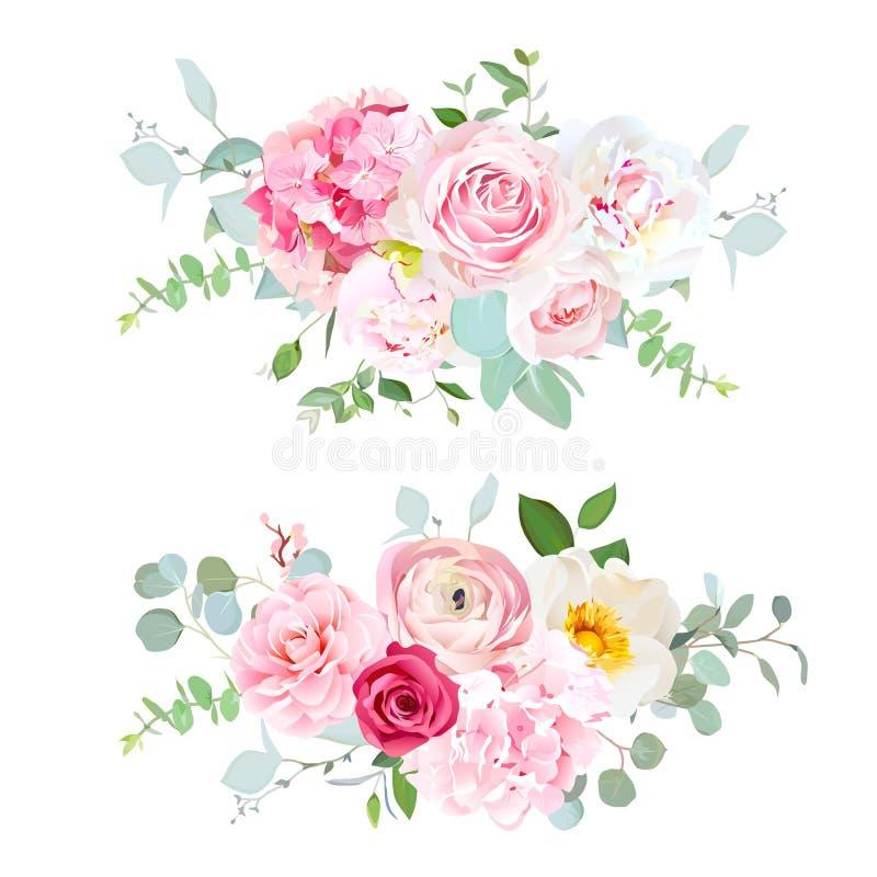 Różowa hortensja, czerwieni róża, biała peonia, kamelia, ranunculus, euc ilustracji