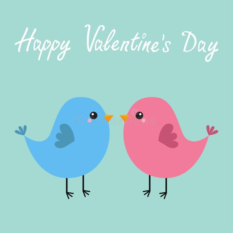 Różowa i błękitna ptasia para szczęśliwe dni valentines Kocha kartka z pozdrowieniami Śliczny kreskówki kawaii charakter Płaski p ilustracji