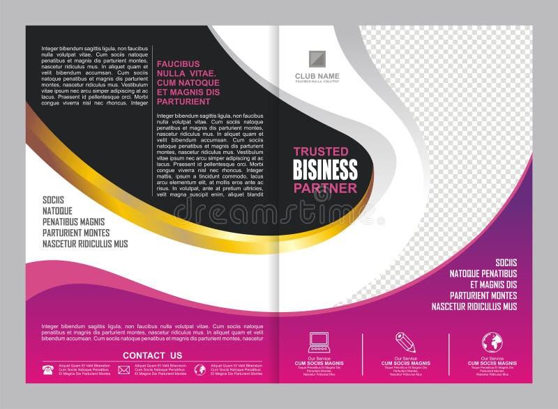 Różowa i Purpurowa broszurka, ulotka, szablonu projekt ilustracja wektor