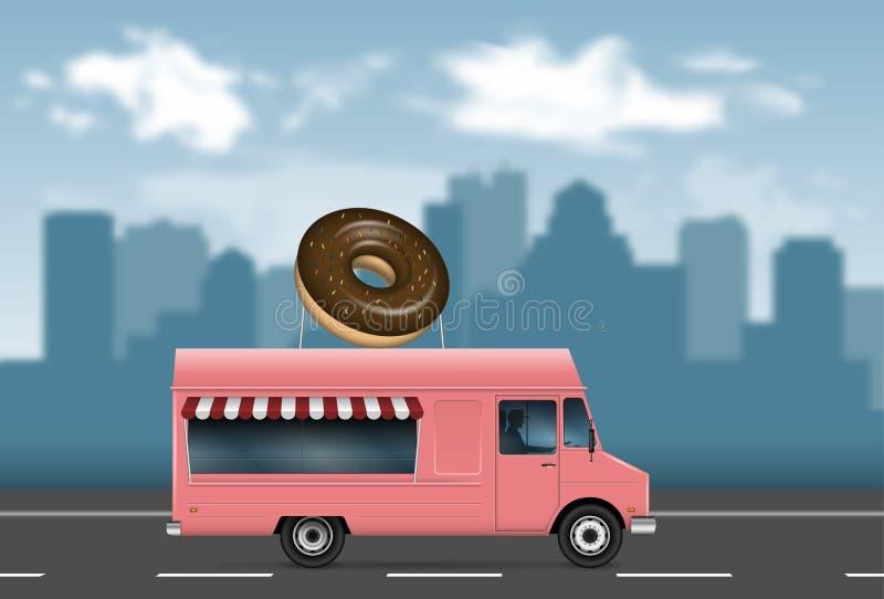 Różowa jedzenie ciężarówki wektoru ilustracja ilustracja wektor