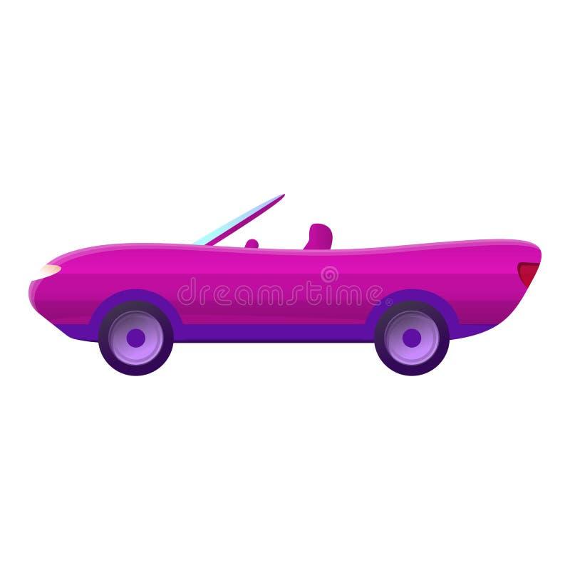 Różowa kabriolet ikona, kreskówka styl ilustracji