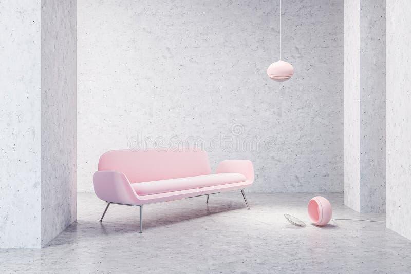 Różowa kanapa w pustym betonowym żywym pokoju ilustracja wektor