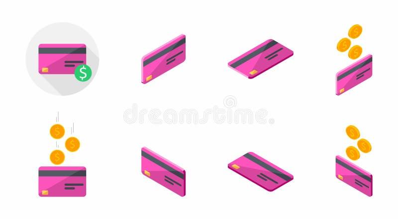 Różowa karta kredytowa, bank karta Biznesowa, Isometric, Finansowy, Żadny tło, wektor, Płaska ikona, ikony paczka, ikona set ilustracja wektor