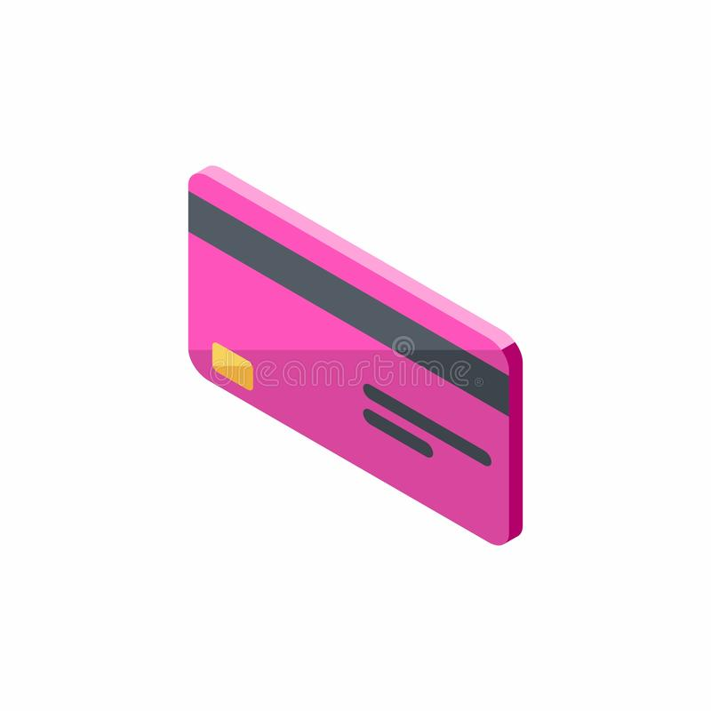 Różowa karta kredytowa Biznesowa, Isometric, Finansowy, bank karta, wektor royalty ilustracja