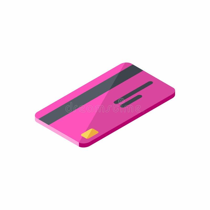 Różowa karta kredytowa Biznesowa, Isometric, Finansowy, bank karta, wektor ilustracja wektor