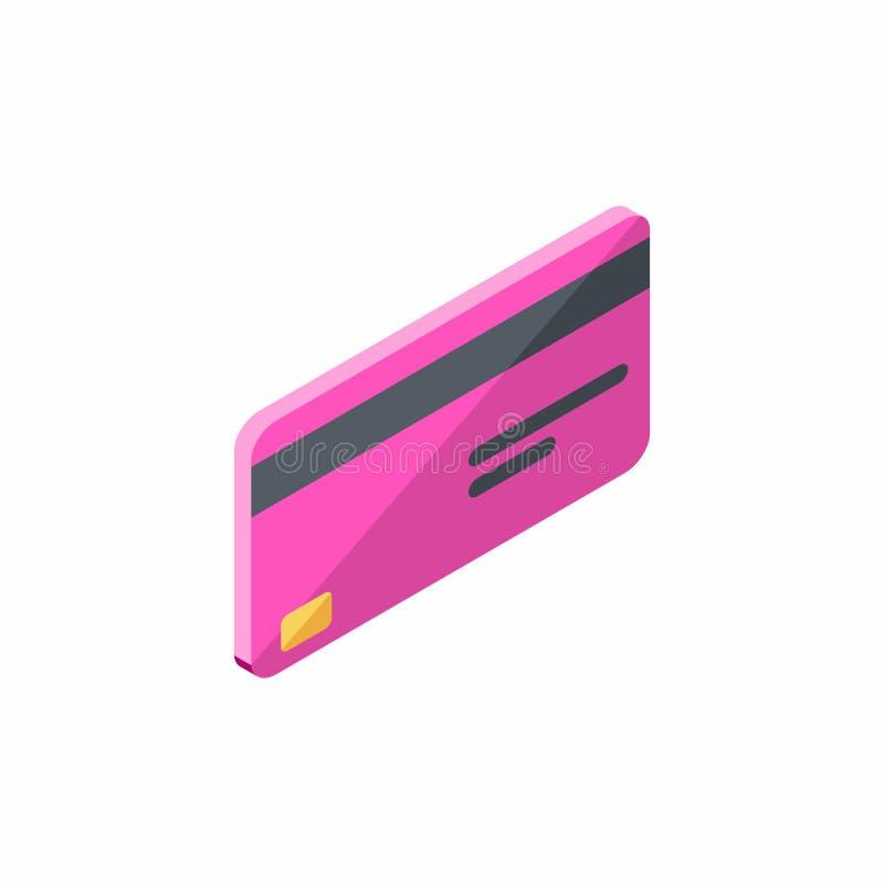 Różowa karta kredytowa Biznesowa, Isometric, Finansowy, bank karta, wektor ilustracji