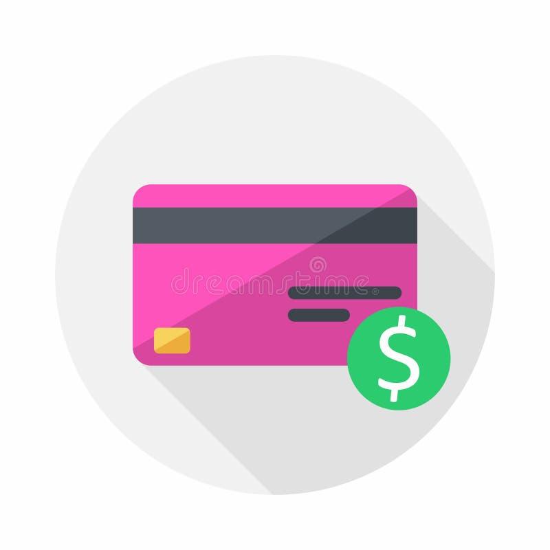 Różowa karta kredytowa, finanse, biznes, wektor, Płaska ikona ilustracja wektor