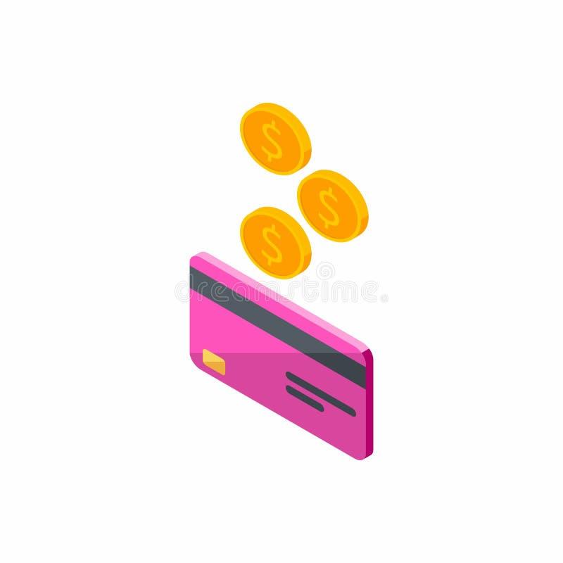 Różowa karta kredytowa, Zarabia pieniądze, Isometric, moneta, finanse, bank karta, biznes, wektor, gotówka dostaje bank kartę ilustracji
