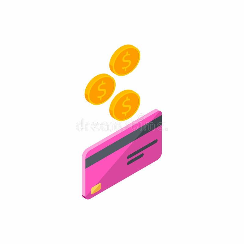 Różowa karta kredytowa, Zarabia pieniądze, Isometric, moneta, finanse, bank karta, biznes, wektor, gotówka dostaje bank kartę ilustracja wektor