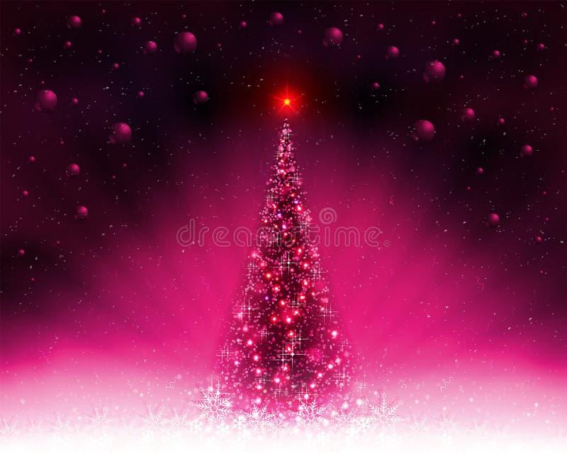 Różowa karta z błyszczącą choinką, promienie światło i boże narodzenie piłki ilustracji