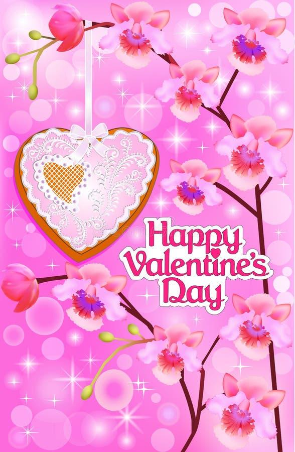 Różowa karta z orchideami i serce na walentynka dniu ilustracja wektor