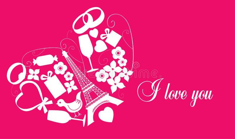 Różowa karta z valentine symbolami ilustracja wektor