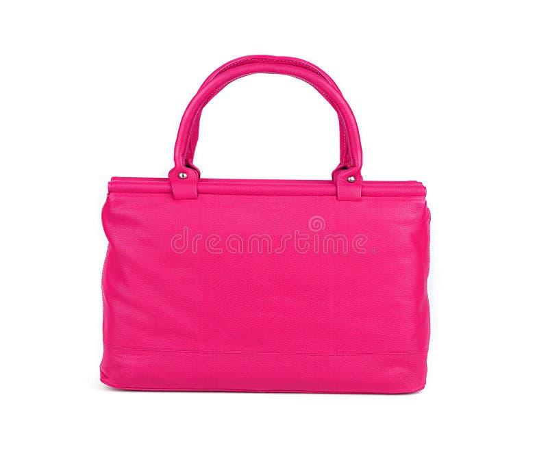 Różowa kobiety torba odizolowywająca na bielu zdjęcia stock
