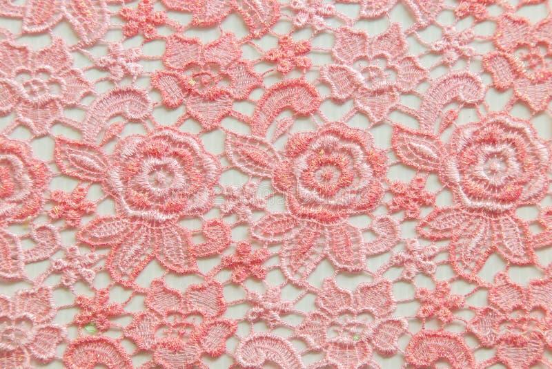 Różowa koronka na białym tle Żadny jakaś znak firmowy lub ogranicza sprawę w ten fotografii obraz stock