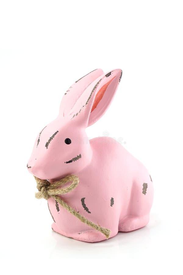 Różowa królik postać odizolowywająca na białym tle zdjęcie royalty free