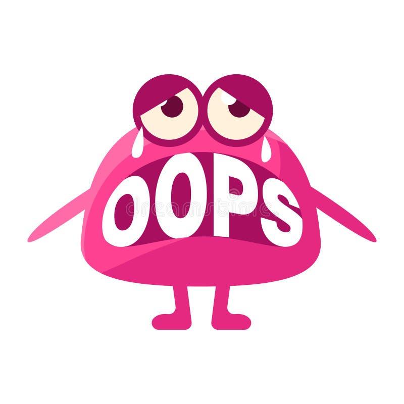Różowa kropla Mówi Zamiast zębów Oops, Śliczny Emoji charakter Z słowem W usta Emoticon wiadomość, ilustracji