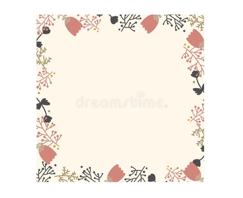 Różowa kwiat rama ilustracja wektor