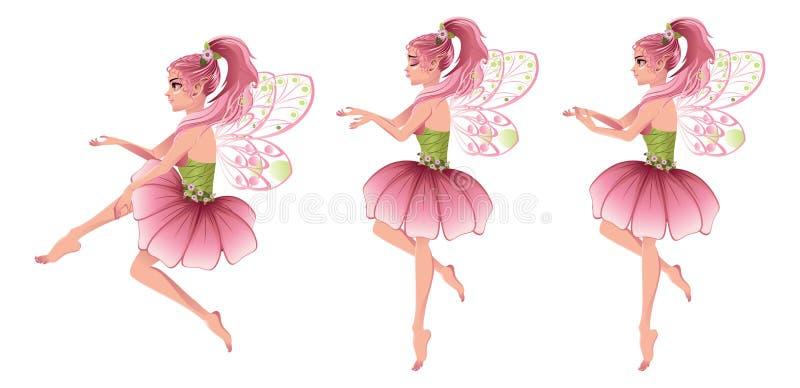 Różowa Kwiecista czarodziejka ilustracja wektor