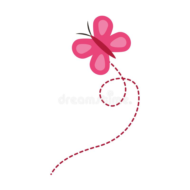 Różowa latająca motylia śliczna insekt kreskówka royalty ilustracja