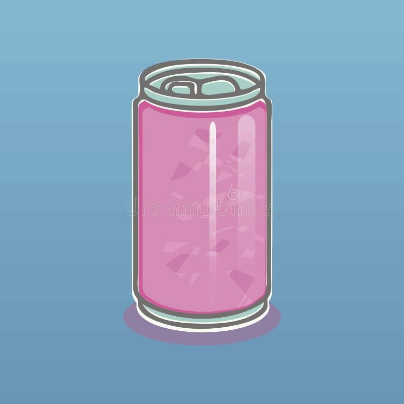 Różowa lekka aluminiowa puszka z napój szarością zarysowywa i ocienia na błękitnej gradientowej tło wektoru ilustracji royalty ilustracja