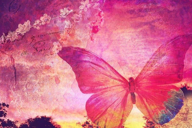 Różowa motylia stara pocztówka ilustracja wektor