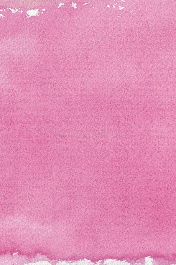 Różowa naturalna handmade watercolour aquarelle obrazu tekstura, pionowo textured akwarela papieru zbliżenia kopii makro- przestr obraz stock