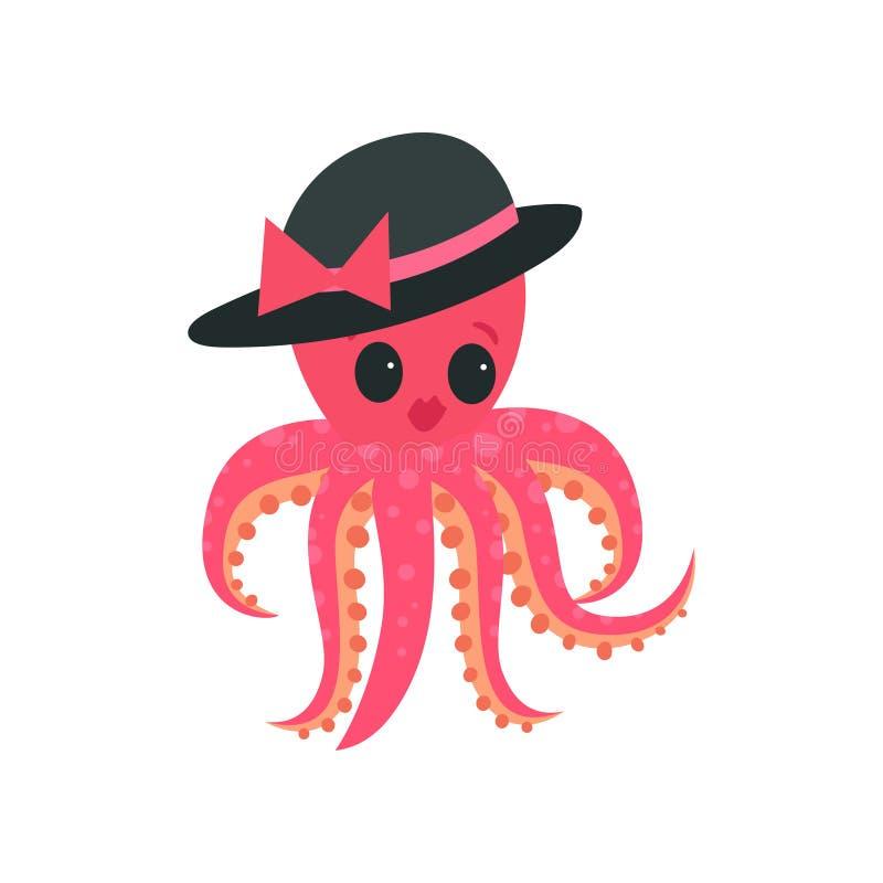 Różowa ośmiornica z tłuściuchnymi wargami i dużymi błyszczącymi oczami Kreskówki mollusk charakter w eleganckim czarnym kapeluszu ilustracji